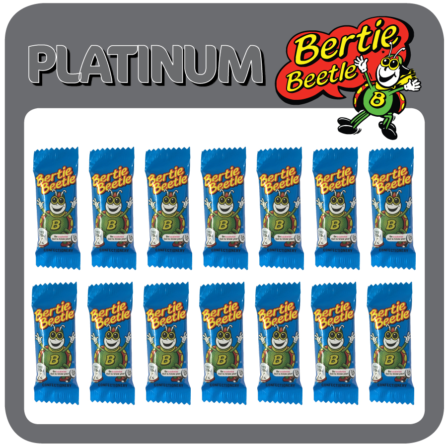 The Bertie Beetle Platinum Showbag includes 14 Bertie Beetle chocolates